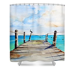Top Of Old Pier On Playa Paraiso Shower Curtain
