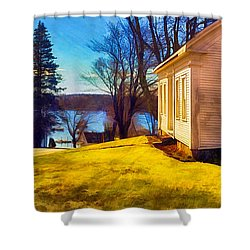 Top Of The Hill, Friendship, Maine Shower Curtain by Dave Higgins
