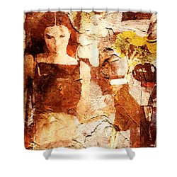 Top Tank And Sunflower Shower Curtain by Andrea Barbieri