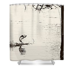 Top Water Explosion - Vintage Tone Shower Curtain