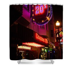 Shower Curtain featuring the photograph Topless Bar Signs At Night In North Beach San Francisco by Jason Rosette