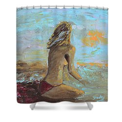 Topless Beach Shower Curtain by Donna Blackhall
