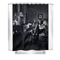 Shower Curtain featuring the photograph Topless Girl Posing At Desk In Hotel Room by Michael Edwards