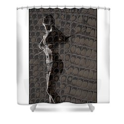Topless Girl With African Spear Shower Curtain by Michael Edwards
