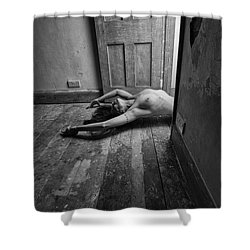 Topless Woman In Doorway Shower Curtain