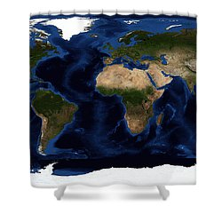 Topographic & Bathymetric Shading Shower Curtain by Stocktrek Images