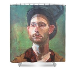 Shower Curtain featuring the painting Topper by JaeMe Bereal