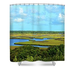 Topsail Island Marshland Shower Curtain by Eva Kaufman
