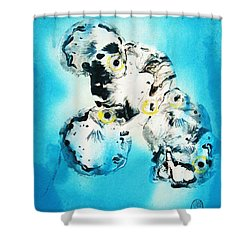 Shower Curtain featuring the painting Tora Fugu's At Forty Fathoms by Roberto Prusso