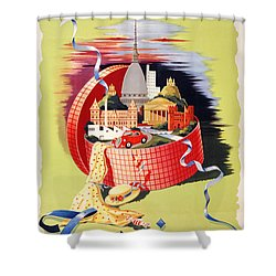 Torino Turin Italy Vintage Travel Poster Restored Shower Curtain