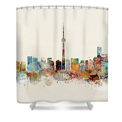 Shower Curtain featuring the painting Toronto City Skyline by Bri B