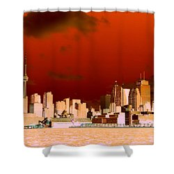 Shower Curtain featuring the photograph Toronto Red Skyline by Valentino Visentini