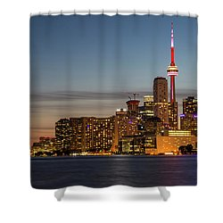 Shower Curtain featuring the photograph Toronto Skyline At Dusk by Adam Romanowicz