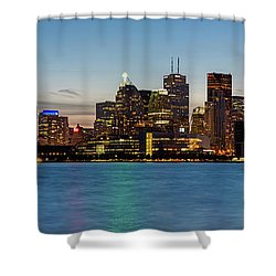 Shower Curtain featuring the photograph Toronto Skyline At Dusk Panoramic by Adam Romanowicz