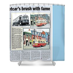 Shower Curtain featuring the painting Toronto Sun Article Streetcars Brush With Fame by Kenneth M Kirsch