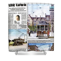 Shower Curtain featuring the painting Toronto Sun Article Painting The Town by Kenneth M Kirsch