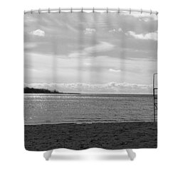Shower Curtain featuring the photograph Toronto Winter Beach by Valentino Visentini