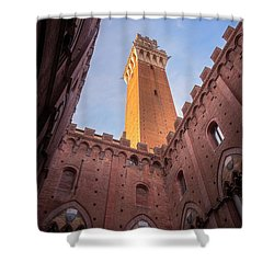 Shower Curtain featuring the photograph Torre Del Mangia Siena Italy by Joan Carroll