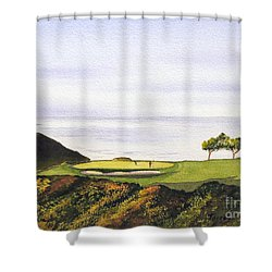 Shower Curtain featuring the painting Torrey Pines South Golf Course by Bill Holkham