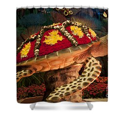 Tortoise With Flowers Shower Curtain