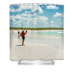 Tortuga Bay Beach At Santa Cruz Island In Galapagos  Shower Curtain