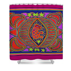 Shower Curtain featuring the digital art Tortuga Shaman Spirits by Vagabond Folk Art - Virginia Vivier