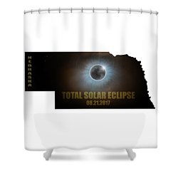 Total Solar Eclipse In Nebraska Map Outline Shower Curtain by David Gn