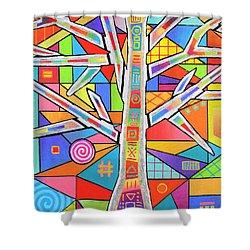 Totem Tree Shower Curtain by Jeremy Aiyadurai