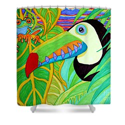 Toucan And Red Eyed Tree Frog Shower Curtain by Nick Gustafson