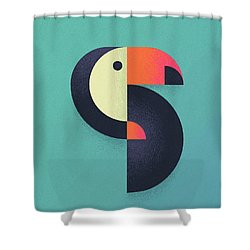 Toucan Geometric Airbrush Effect Shower Curtain