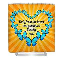 Touch The Sky With Rumi's Heart Butterflies Shower Curtain