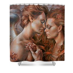 Touched By Angel Shower Curtain by Arthur Braginsky