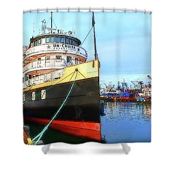 Tour Boat At Dock Shower Curtain by Tobeimean Peter