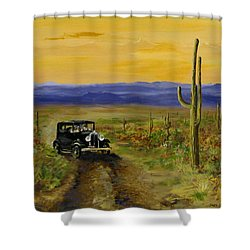 Shower Curtain featuring the painting Touring Arizona by Jack Skinner