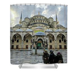 Tourists And The Blue Mosque Shower Curtain