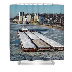 Tow Boat Cooperative Venture On Mississippi River Shower Curtain