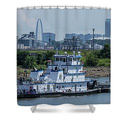Towboat In The Chain Of Rock Canal Shower Curtain by Garry McMichael