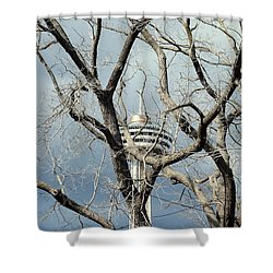 Shower Curtain featuring the photograph Tower And Trees by Valentino Visentini