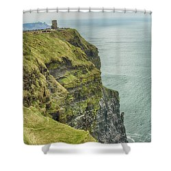 Shower Curtain featuring the photograph Tower At The Cliffs Of Moher by Marie Leslie