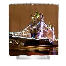 Tower Bridge Evening Shower Curtain by Rae Tucker