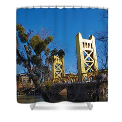 Shower Curtain featuring the photograph Tower Bridge Old Sacramento by Debra Thompson
