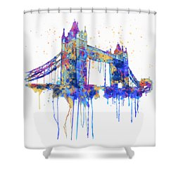 Tower Bridge Watercolor Shower Curtain