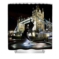 Tower Bridge With Girl And Dolphin Statue Shower Curtain