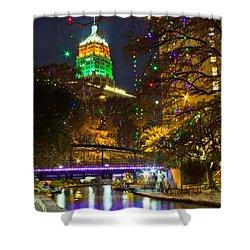 Tower Life Riverwalk Christmas Shower Curtain