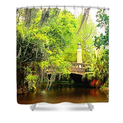 Tower Light Bridge Shower Curtain