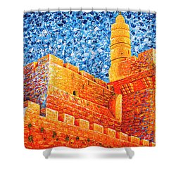 Shower Curtain featuring the painting Tower Of David At Night Jerusalem Original Palette Knife Painting by Georgeta Blanaru