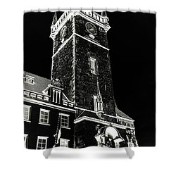 Shower Curtain featuring the photograph Tower Of Old Town Hall In Prague. Black by Jenny Rainbow