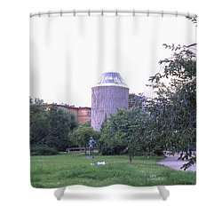 Tower Of The Future, Statue And Lying Woman Shower Curtain