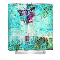 Shower Curtain featuring the painting Towers by Dominic Piperata