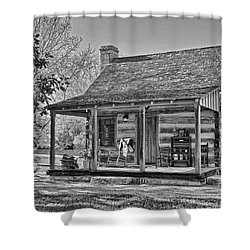 Town Creek Log Cabin In Fall_2 Shower Curtain